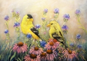 <h5>American Goldfinch Pair</h5><p>Oil on Canvas $325</p>