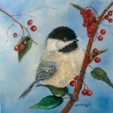 <h5>Black Capped Chickadee And Winterberries</h5><p>Oil on Canvas $300</p>
