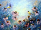 <h5>Coneflowers and Goldfinches</h5><p>Oil on Canvas $200</p>