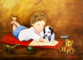 <h5>Storybook Time</h5><p>Oil on Canvas 16 x12 Inches $300</p>