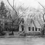Old Library on Lake Afton - Winter. 16x12 inches, Charcoal and Graphite Drawing (A Bucks County, PA Scene). $300