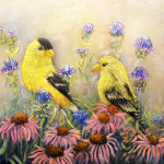 American Goldfinch Pair