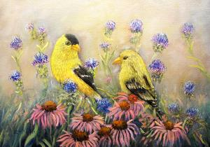 "American Goldfinch Pair  -  Oil  -  12x16""  -  $350"