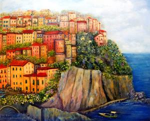 "Cinque Terre Oil  -Oil on Canvas  -  24x20""  -  $800"