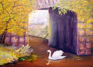 "The Mill Swan  -  Oil on Canvas  -  24x18""  -  $500"