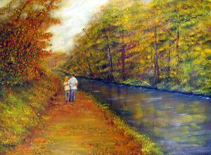 Autumn On The Towpath  -  24x18  -  Oil on Canvas  -   $600