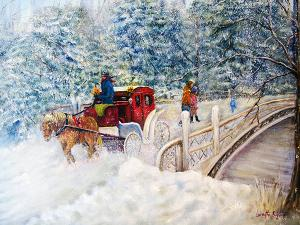 "Winter Carriage in Central Park  -  Oil on Canvas  -  24 x 18""  -  $900"