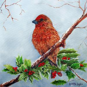 "House Finch In Winter  -  Oil  -  12x12""  -  $200"