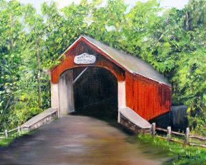 """Knechts Covered Bridge  -  Oil on Canvas  -  16x12""""  -  $200"""