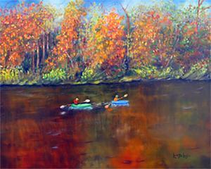 "Lake Nockimixon Autumn  -  Oil on Canvas  -  20x16""  -  $300"