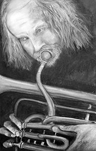 """Man Playing A Flugelhorn  -  Charcoal  -  24x14""""  -  $800"""