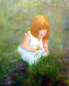 """Girl In The Meadow painting  -  Watercolor  -  12x16""""  -  $300"""