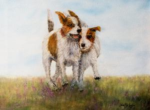 Pals (rough coated Jack Russels)  -  Oil  -  16x12  -  $375.