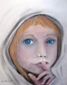 "The Secret. 9x12"". Pastel Book Illustration - sold."