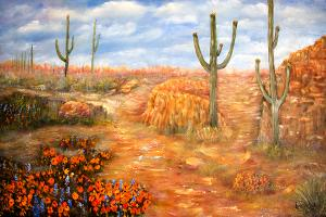 "Sonoran Spring  -  Oil on Canvas  -  24x36""  -  $800"
