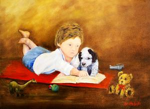 """Storybook Time  -  Oil  -  12x16""""  -  $350"""