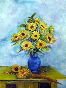 "Sunflowers in Blue Vase  -  Watercolor  -  12x16""  -  $250"