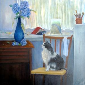 """The Studio Cat  -  Oil  -  24x24""""  -  sold"""