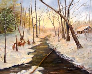 "Tinicum Creek Winter  -  Oil on Canvas  -  30x40""  -  $1200"
